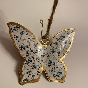 Vintage Style Metal Butterfly Christmas Ornament